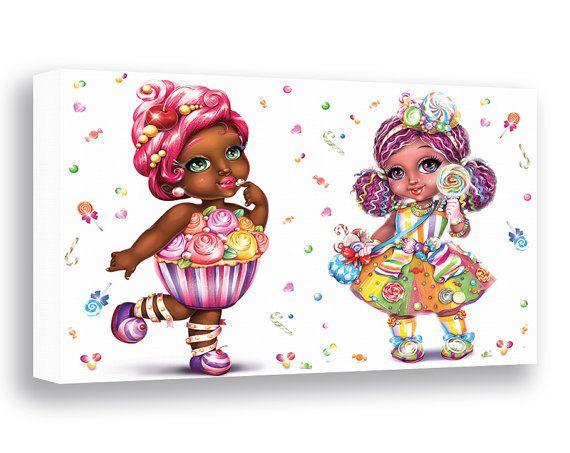 Girls Room Decor Cupcake Girl Nursery Wall Decor Candy Girl Wall Art  African American Children Art. Girls Room Decor Cupcake Girl Nursery Wall Decor Candy Girl Wall