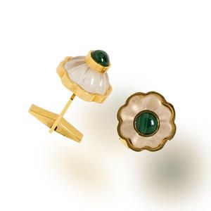 A pair of malachite and rock crystal cufflinks, Tony Duquette Estimate: US$ 1,200 - 1,800 £740 - 1,100 €920 - 1,400