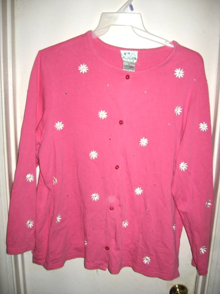 Quacker Factory Pink Cardigan Sweater Embroidered Daisy Flowers