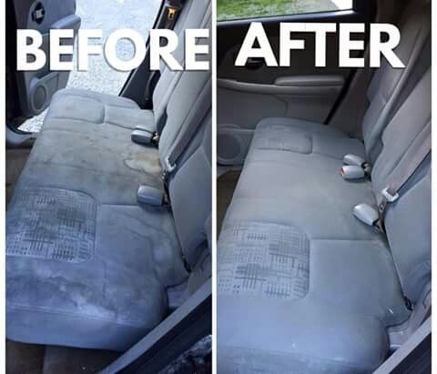 Clean car seats, 1 cup distilled vinigar, and club soda, 1/2 dawn blue soap...in bottle wiyh brush let soak 10 min wet down with rag after.