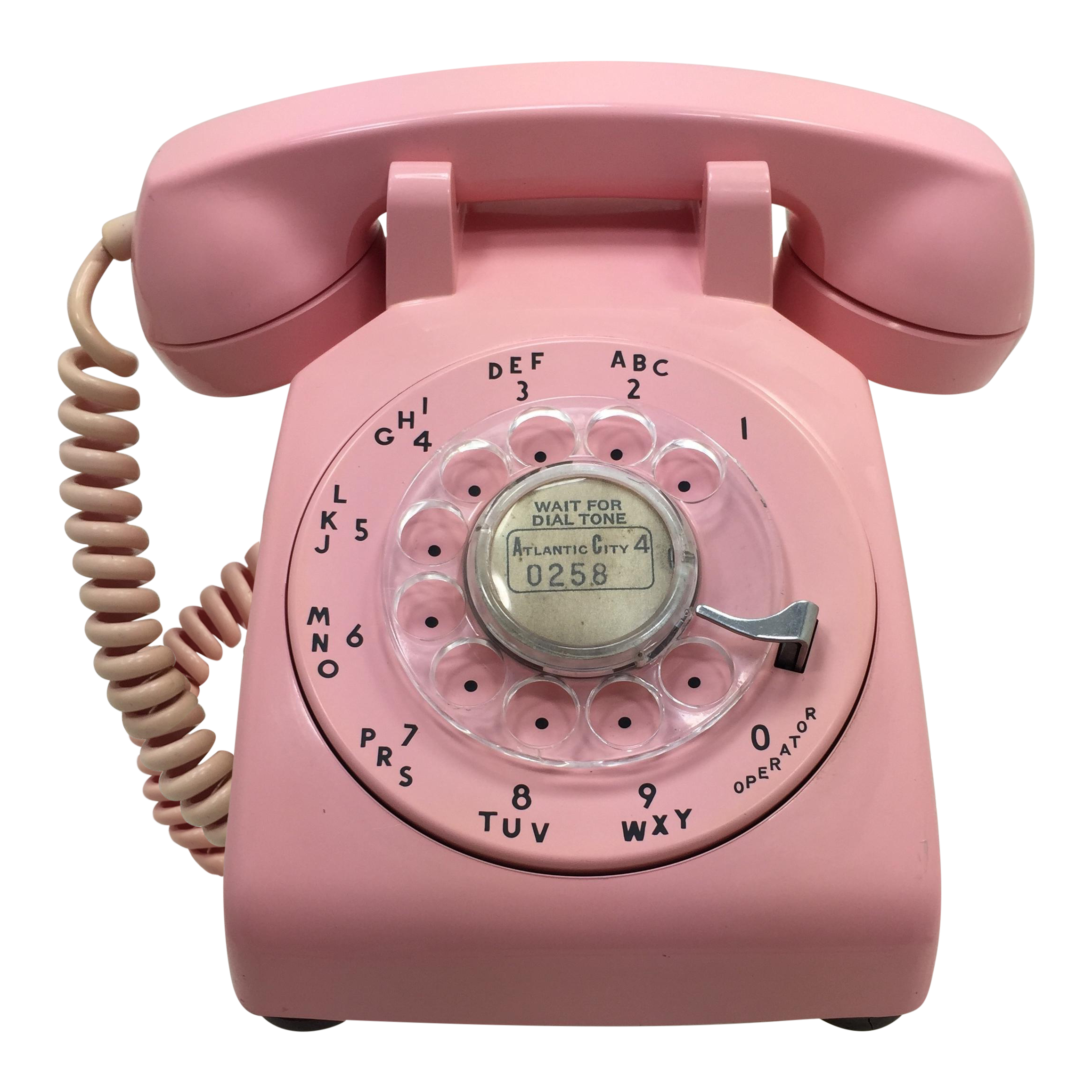 pink 1964 date matched rotary dial desk phone chairish [ 2318 x 2318 Pixel ]