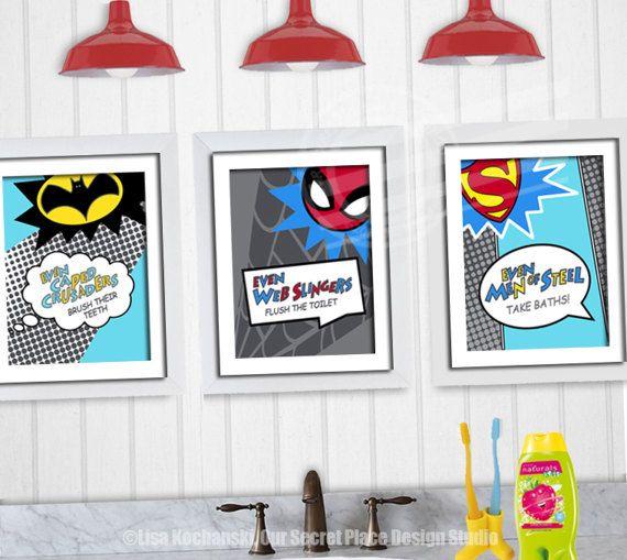 PRINTABLE Kids Bathroom Wall Decor Superhero Wall Art Superhero ...