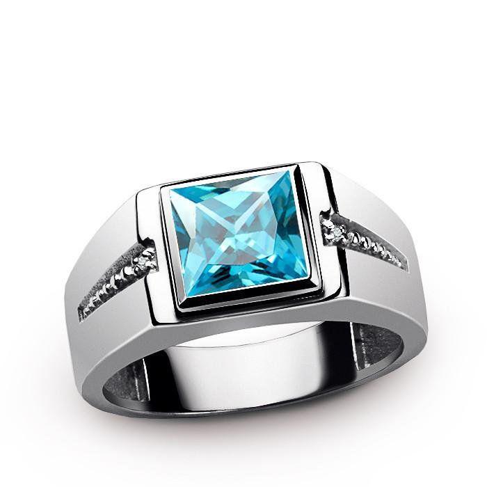 Mens Ring Blue Topaz Solitaire Ring Etsy Blue Topaz Ring Blue Topaz Ring