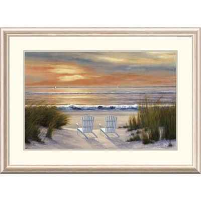 Global Gallery 'Coastal Paradise Sunset' by Diane Romanello Framed Painting Print Size: 2