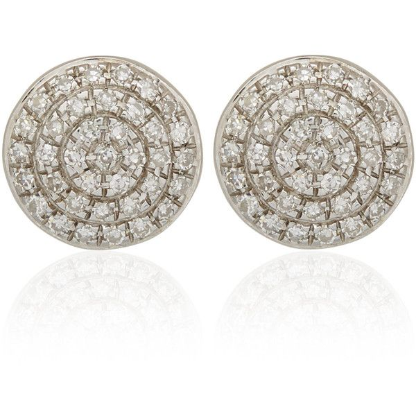 Monica Vinader Silver Diamond Ava Button Stud Earrings ($445) ❤ liked on Polyvore featuring jewelry, earrings, circle stud earrings, silver jewellery, silver disc earrings, post earrings and silver stud earrings