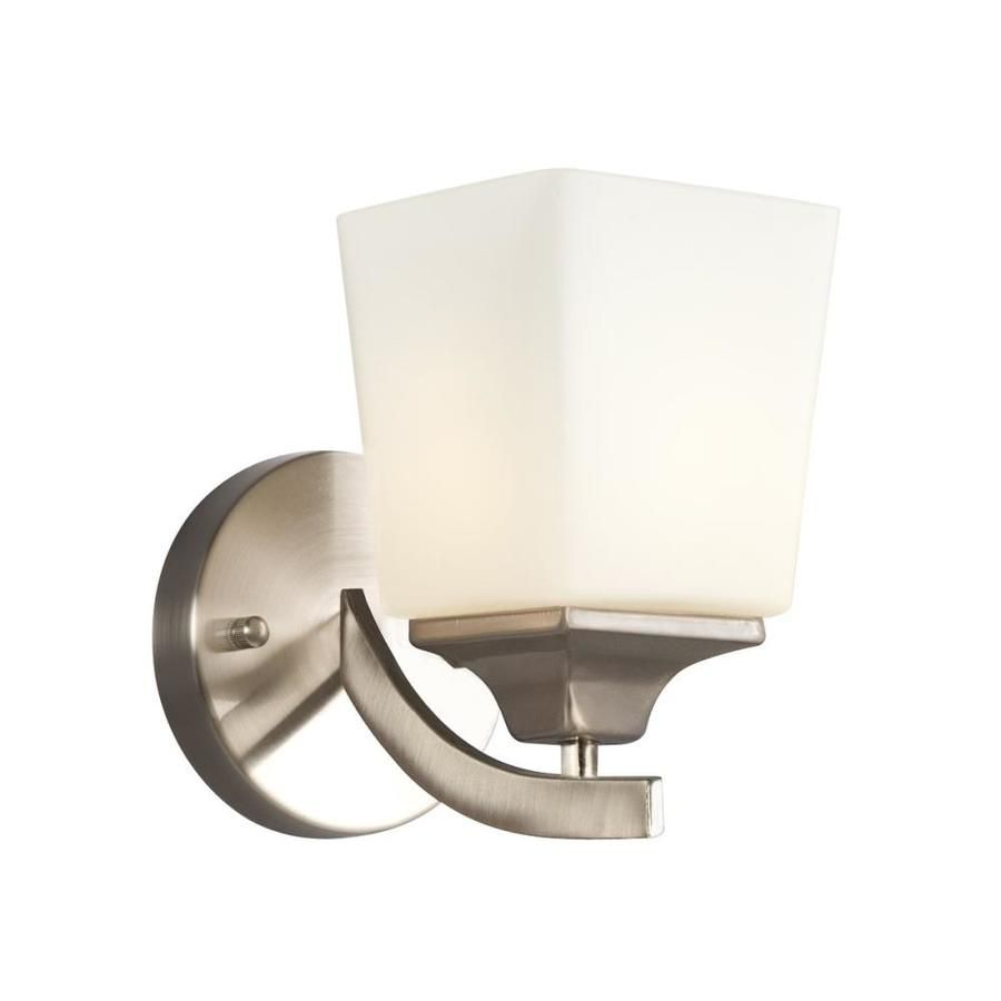 Galaxy Lighting Newbury 5 In W 1 Light Brushed Nickel Modern Contemporary Wall Sconce 712801bn In 2020 Bathroom Wall Sconces Galaxy Lights