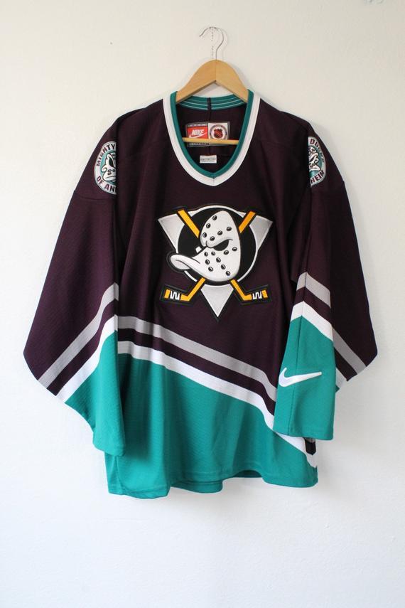 brand new 703dc 20f02 Vintage 90s Original Anaheim Mighty Ducks Nike Hockey NHL ...