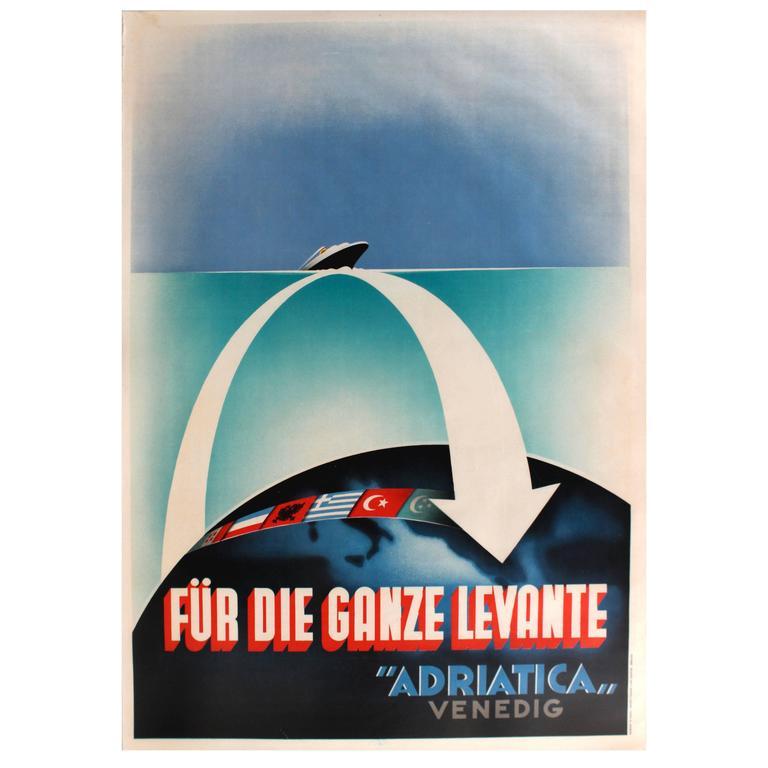 1stdibs Posters - Cruise Ship Poste Für Die Ganze Levante Adriatica Venedig Italian Art Deco Paper