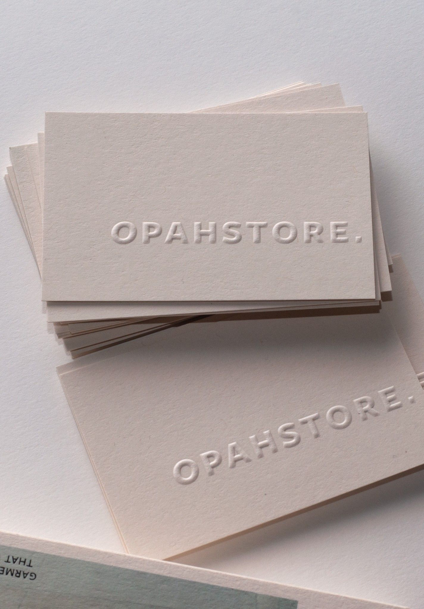 Blind Embossed Business Cards Printed By Jot Paper Co For Opahstore In 2021 Printing Business Cards Embossed Business Cards Graphic Design Business Card
