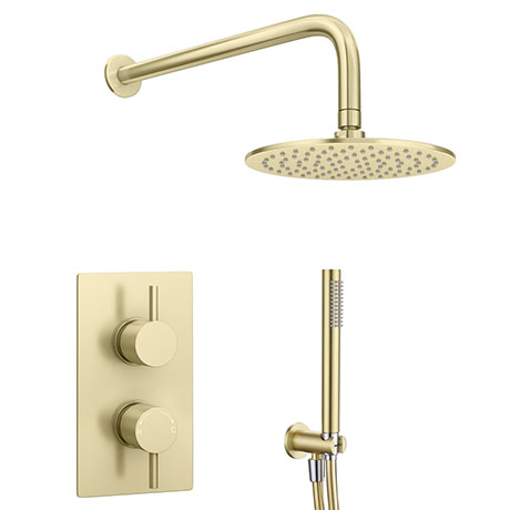 Arezzo Brushed Brass Round Thermostatic Shower Pack With Head Handset Victorian Plumbing Uk In 2020 Fixed Shower Head Shower Accessories Shower Valve
