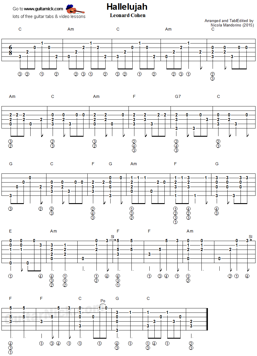 Hallelujah - fingerstyle guitar tablature | Kytara - tabulatury ...