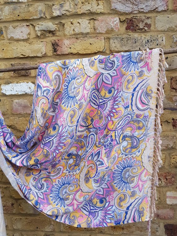 printed damask wrap in purple and pink color by WorldTravelerStyle