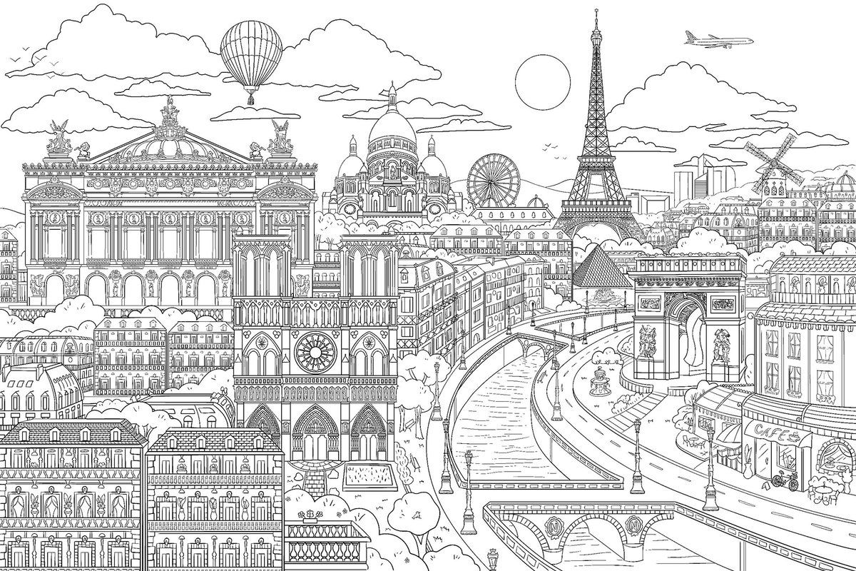 Visite Paris Colouring 6 X 108 Wall Mural Colouring Wall Book Art Projects Hand Art Drawing