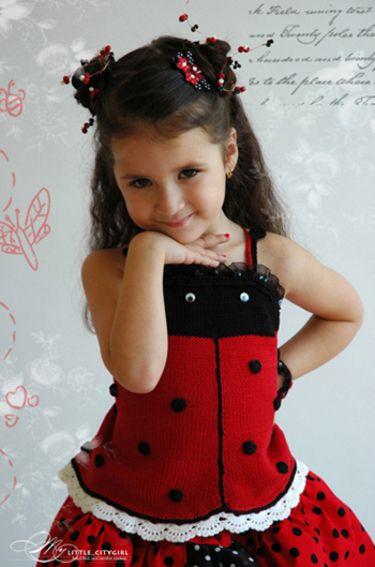 PDF Knit Pattern Ladybug Top Sz 2-12 | für Kinder, Kostüm und Stricken