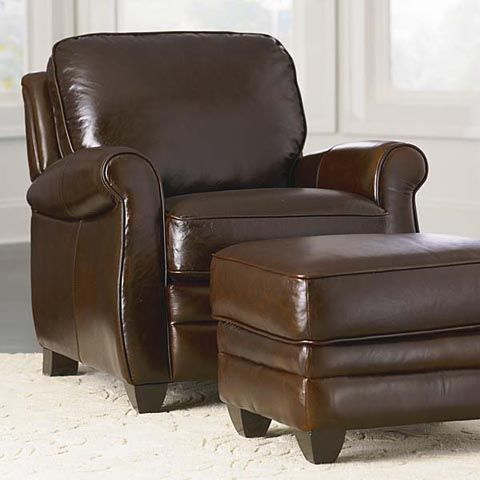 Bassett Furniture Leather Chair And Ottoman In A Walnut Finish   $1,149