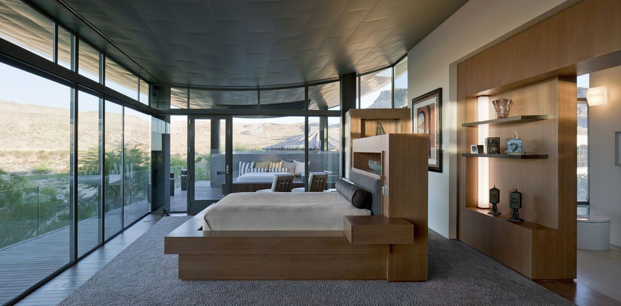 Bedroom Glass Walls Hill Views Massive Modern Home In Las Vegas - Contemporary glass residence