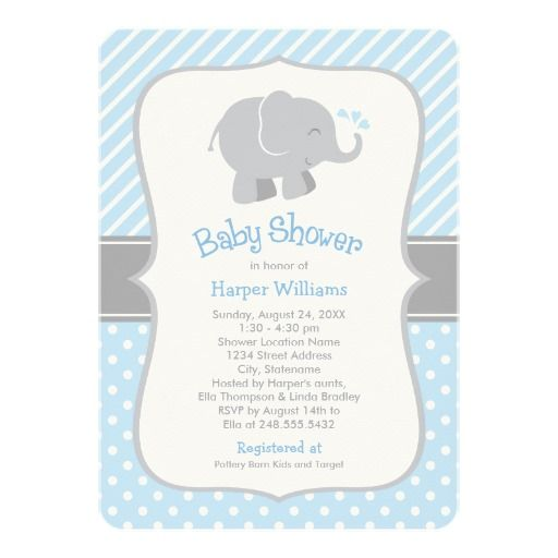 Elephant baby shower invitations blue and gray so cute for a customisable purple gray elephant baby shower gifts t shirts posters mugs accessories and more from zazzle choose your favourite purple gray elephant negle Choice Image