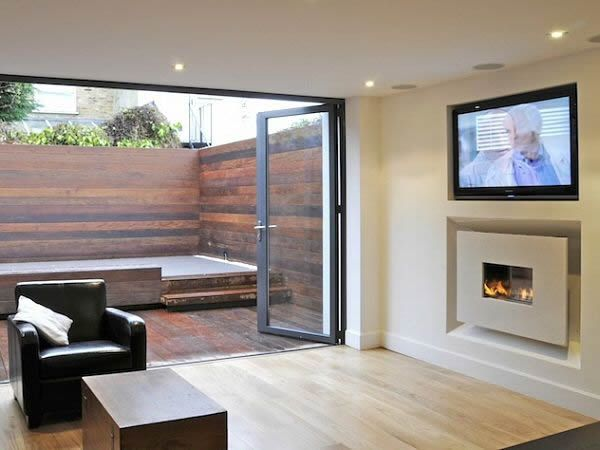 Hole in the wall wide screen fireline with recess and 50 for Modern living room gas fires