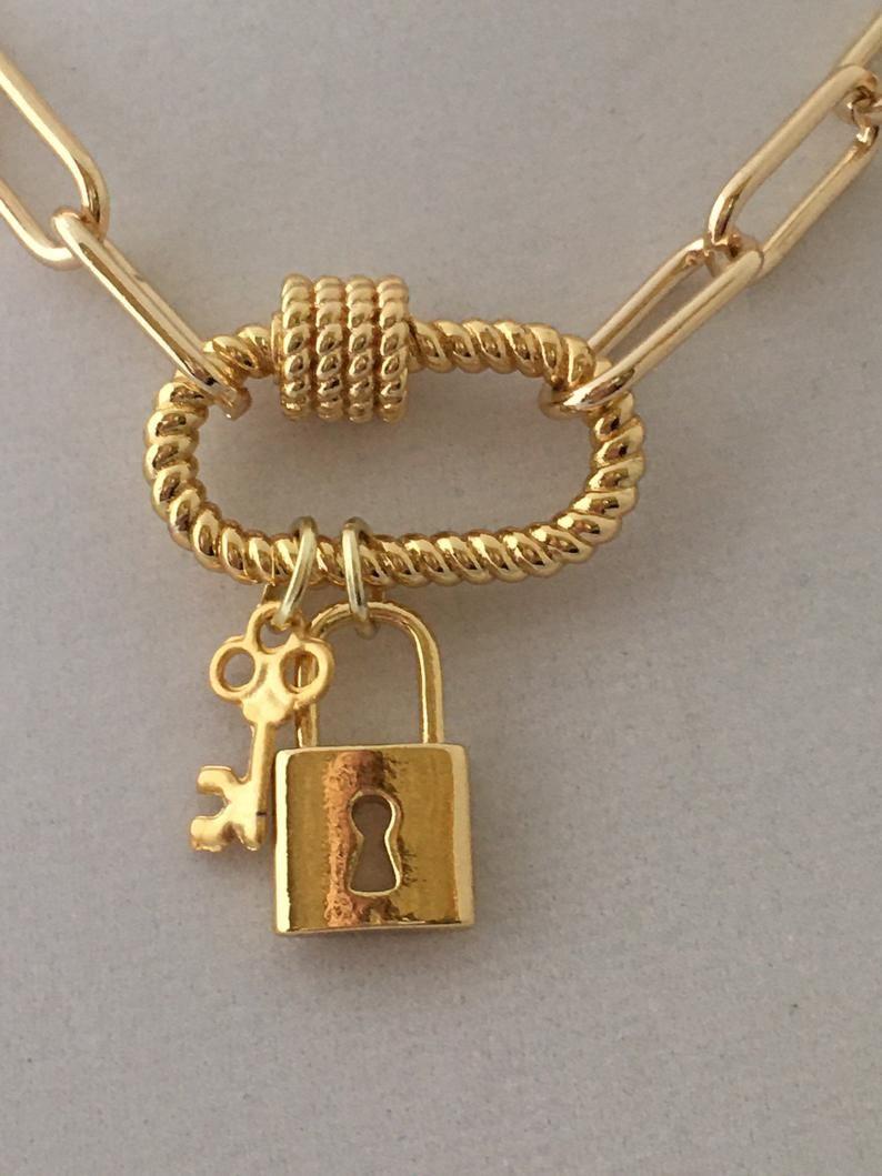 Key Charm Dangle bead for Paperclip Bracelet pendant for Paper Clip Necklace