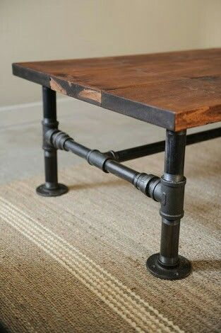 Water Pipes And Timber Rustic Industrial Coffee Table