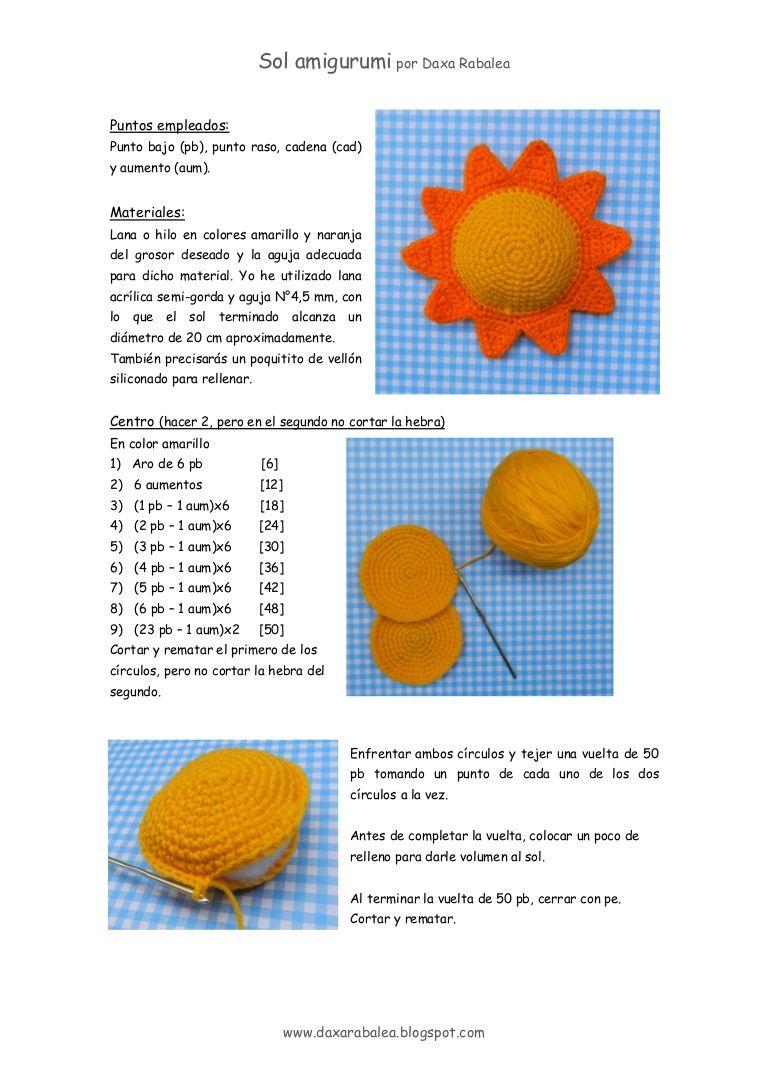 Tutorial para tejer un sol amigurumi, con explicaciones y fotos paso ...