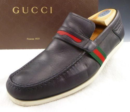 GUCCI sz 9 LEATHER STRAP DECK LOAFERS 170302 MENS BLACK fits US 9 $475
