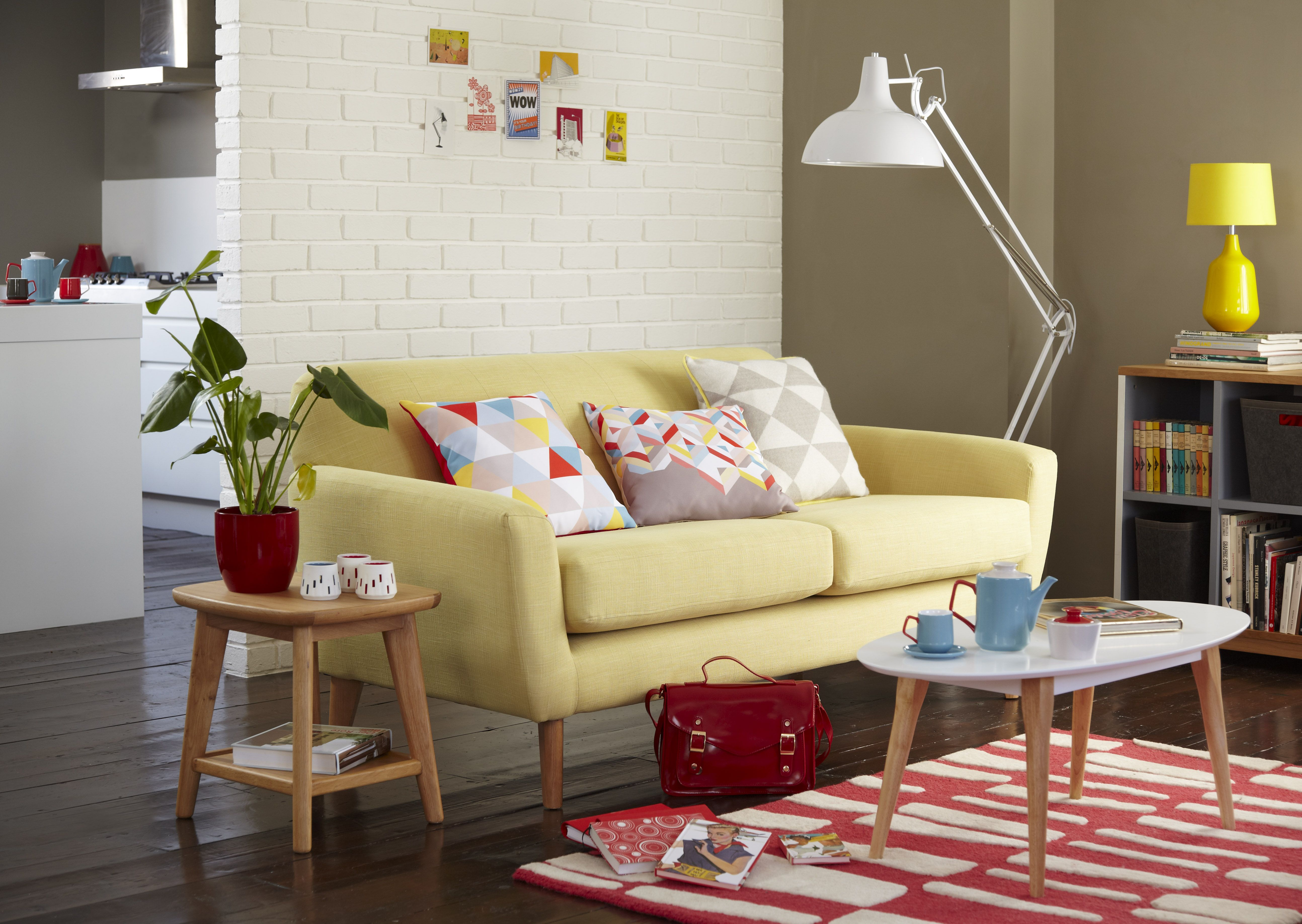 We love the midcentury trend. This yellow sofa is perfect if you want to achieve a modern retro look in your living room this season.
