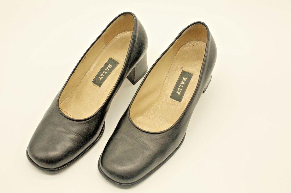 8922932adff BALLY GUAVAIARE-U Womens Black Leather Career Pumps Heels WIDE Size ...