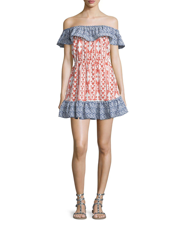 e4ea5f050aeb Taylor Off-The-Shoulder Mixed-Print Dress