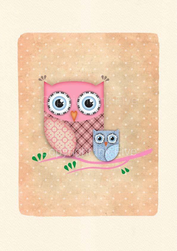 Cute Owl Nursery Art Print Kids Room Wall Sweet Character For