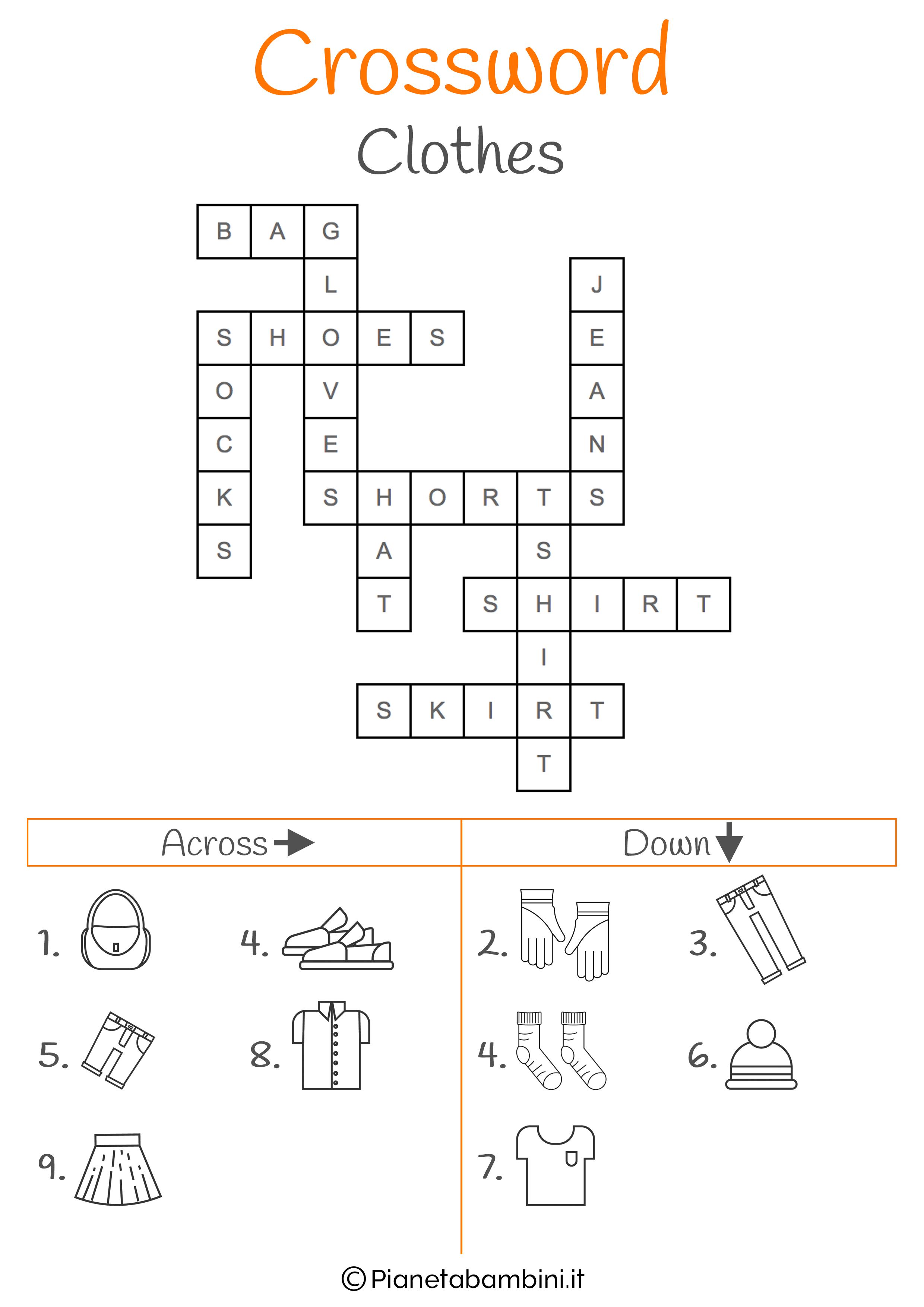 Soluzioni Giardino Delle Parole 15 cruciverba in inglese per bambini da stampare con