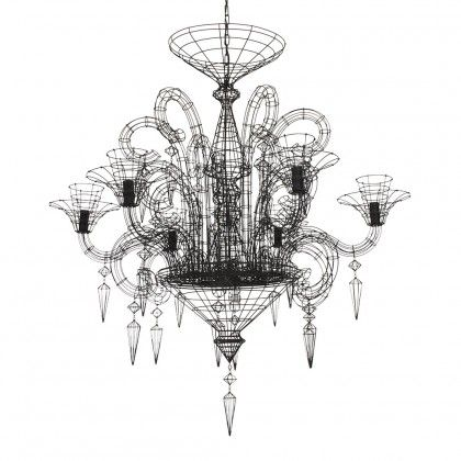 Angelus shadow black wire chandelier ceiling pendant lights lighting rockett st george