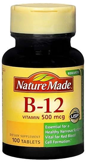 Nature Made Vitamin B-12 500 mcg Tablets 100ct