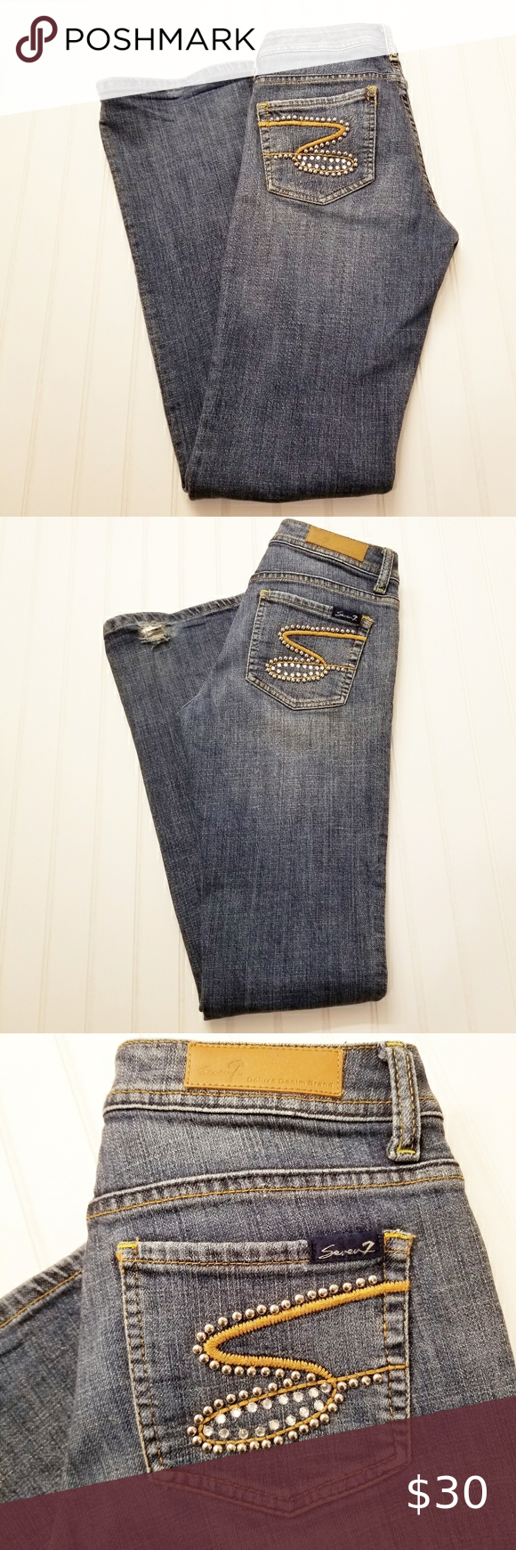Seven7 Embellished Medium Wash Jeans Sz 27 Seven7  Embellished  Medium Wash  Jeans  Sz 27 Factory Fading & Whiskering Note: Back Hem Wear at the Botton  Approximate Measurements: Waist 15.5 inches Rise 7.5 inches Inseam 32 inches  Please review all listed approximate measurements and pictures to see all the details & blemishes. Smoke & Pet Free Home. No Trades. If you have any questions, please feel free to contact me.  A9/0630/HC2 Seven7 Jeans