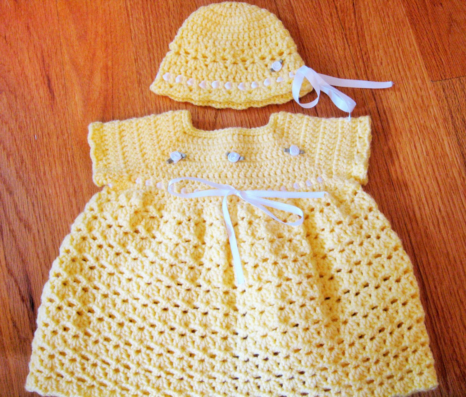 Handmade Crochet Baby Girl Hat Newborn 0-3 Months Yellow White Grey