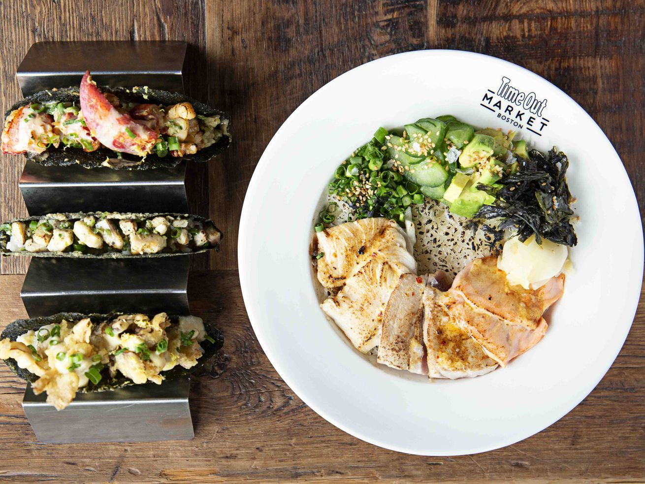 Crispy Nori Sushi Tacos Take Over O Ya For Now Alongside Fancy Booze Buffet Food Nori Sushi Hispanic Food