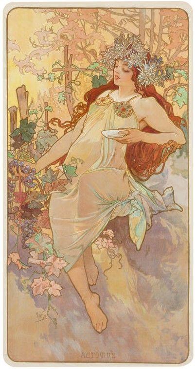 Alfons Mucha Jesien Www Rynekisztuka Pl Alphonse Mucha Art