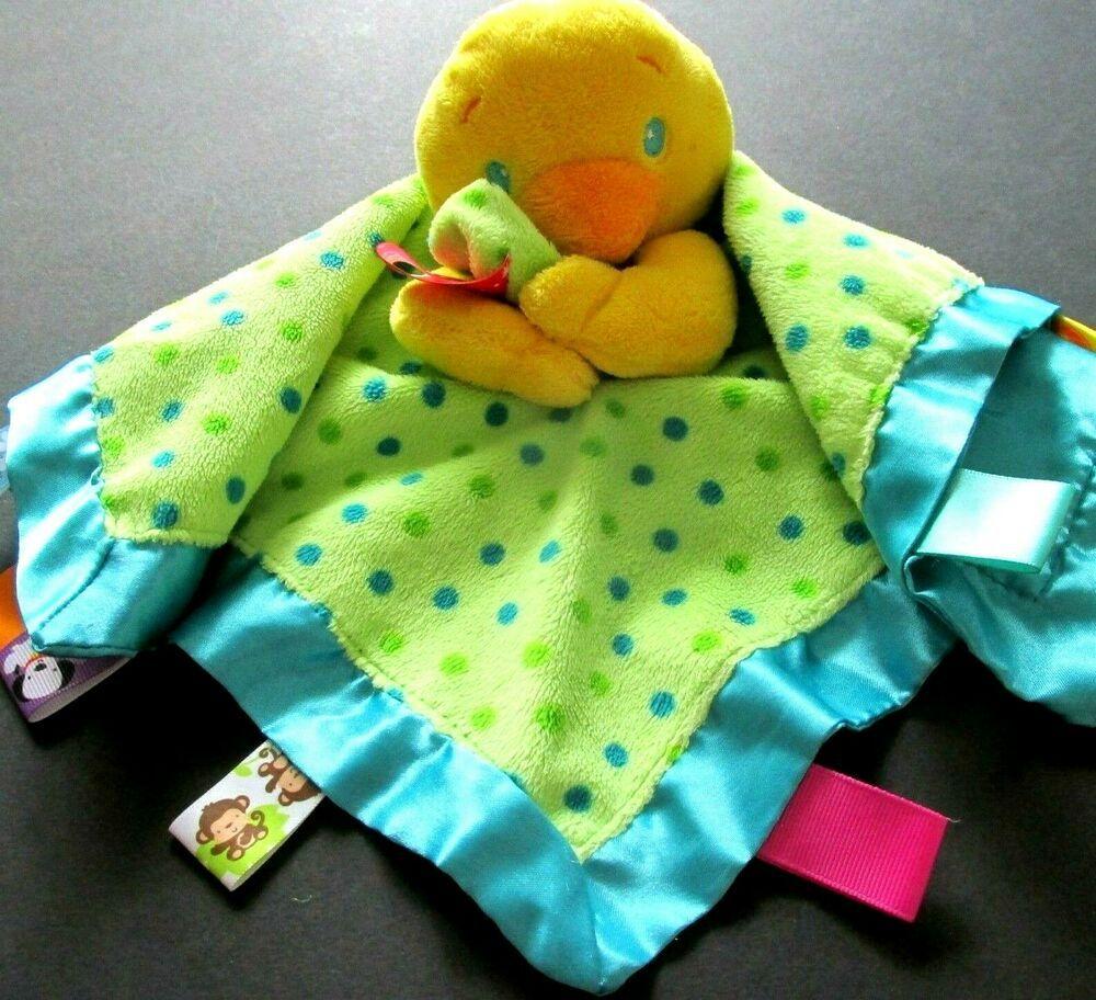 Taggies Duck Security Blanket Lovey Sensory Tags Polka Dot