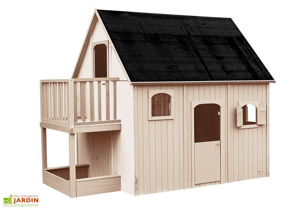 Cabane Maison Enfant En Bois Brut Avec Etage Mezzanine Duplex Maison Enfant Renovation Maison Maisonnette En Bois