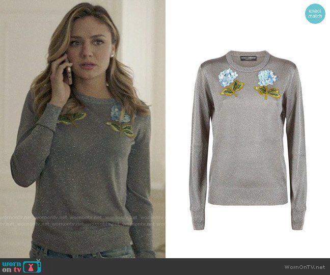 169da37d7ee Megan s metallic sweater with blue flowers on The Arrangement. Outfit  Details  https