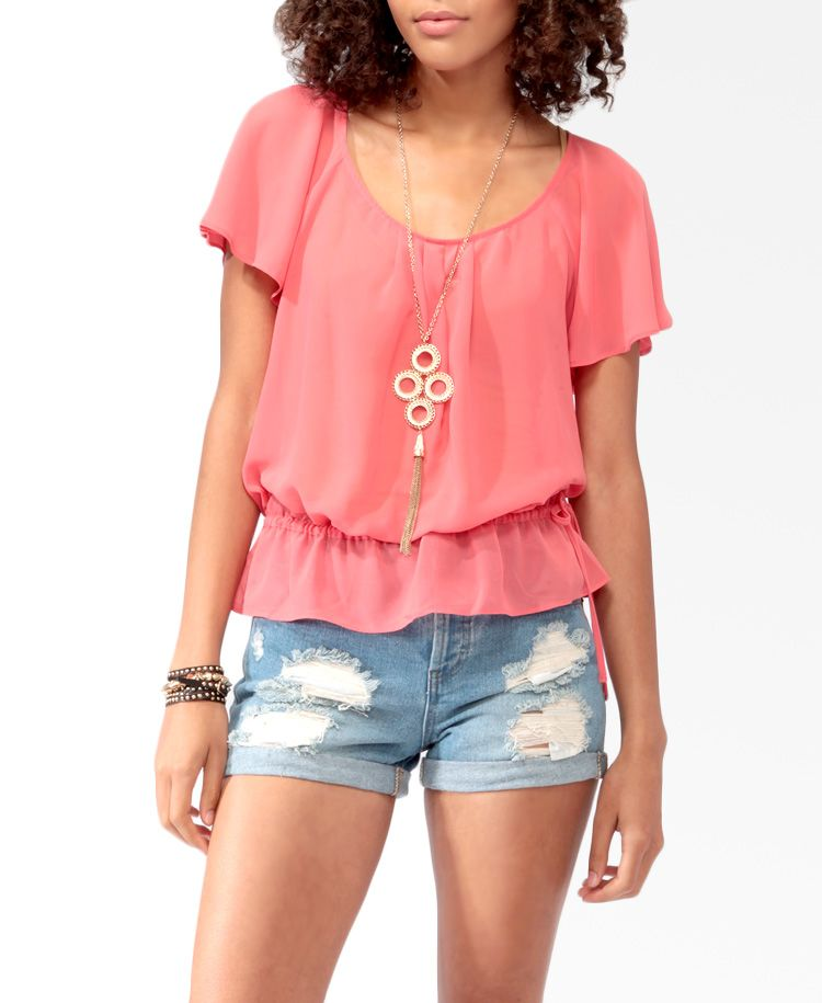 Fluttered Sleeve Blouson Top