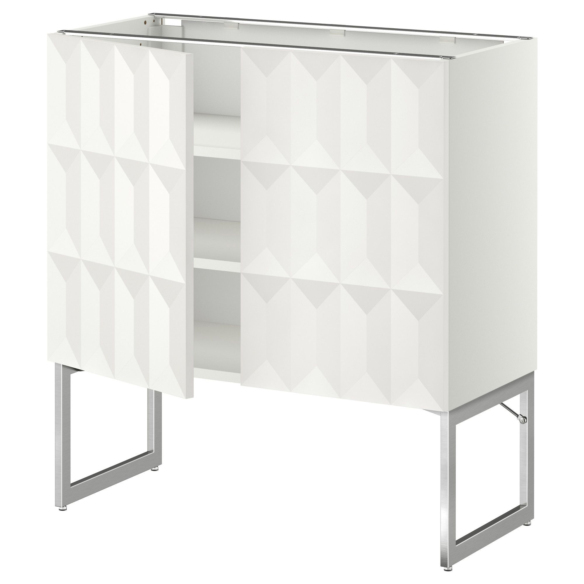 metod base cabinet with shelves 2 doors black herrestad white