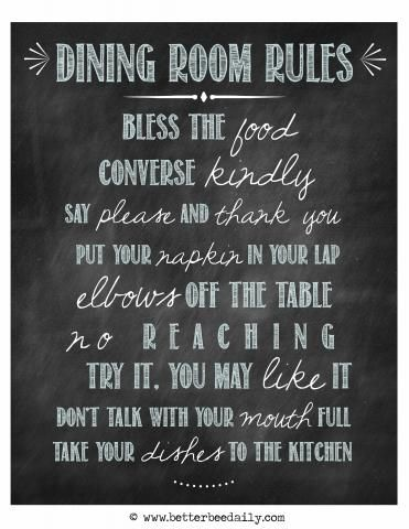 How To Create Meaningful Family Dinners Plus Free Etiquette Printables You Will Want Hang In Your Dining Room Maybe Can Succeed Where I Failed