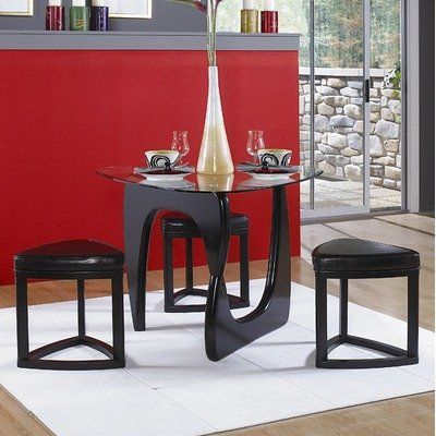 Chorus 4 piece dining set by woodbridge home designs 552 for Triangle shaped dining room table