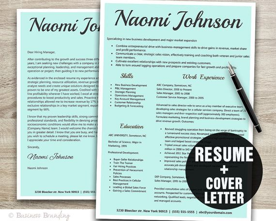 Simple Resume Template  Resume Cover Letter by BusinessBranding