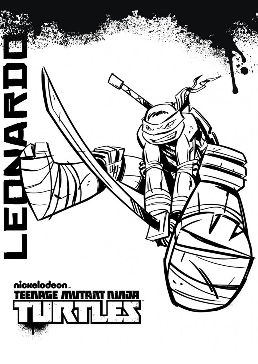 Blow By A Sword From Leonardo Tmnt Free Printable Coloring Page Ninja Turtle Coloring Pages Turtle Coloring Pages Coloring Pages