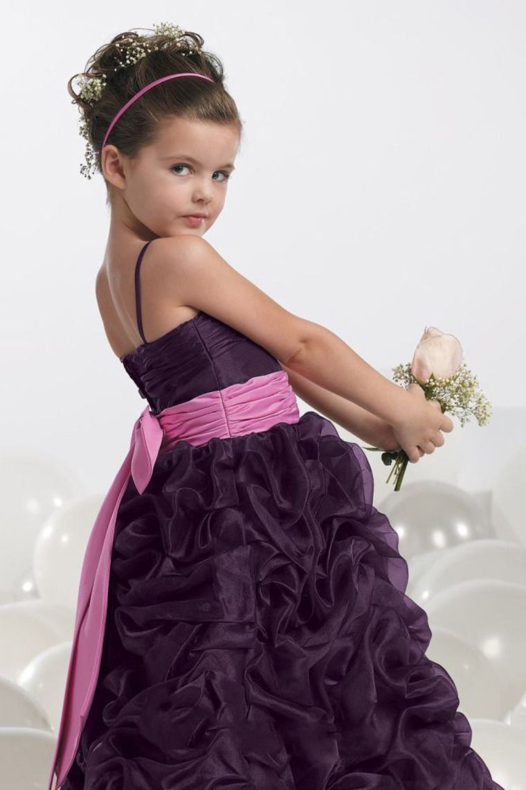 Buy New Arrival Flower Girl Ball Gown Straps Floor Length Organza On
