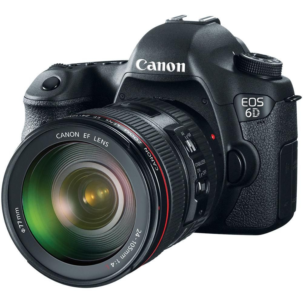 Canon EOS 6D 20.2MP Full Frame DSLR Camera Body + EF 24-105mm F4 L ...