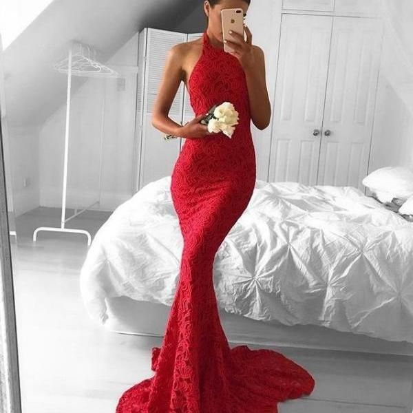 Red mermaid backless lace long prom dress,red formal dresses | PROM ...