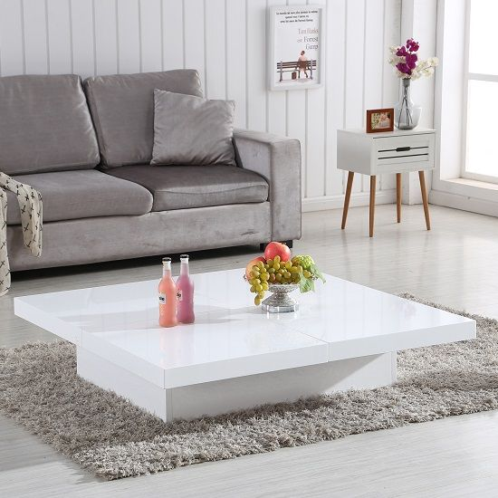 Grande Storage Coffee Table In White High Gloss 28944